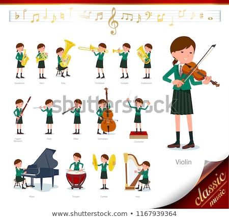 Iskolás lány zöld zene szett klasszikus zene játék Stock fotó © toyotoyo