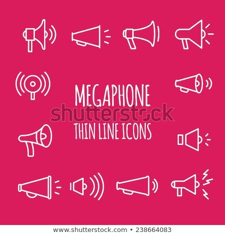 loud speaker thin line vector icon stock photo © smoki
