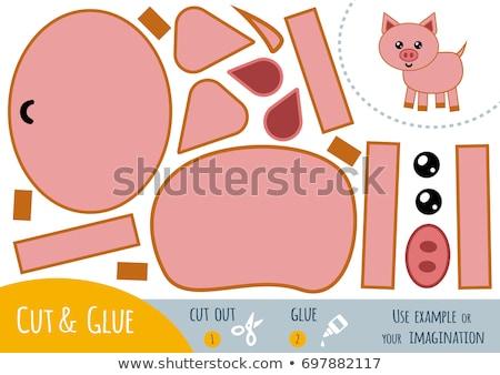 Cartoon свинья ремесла иллюстрация искусств бумаги Сток-фото © cthoman