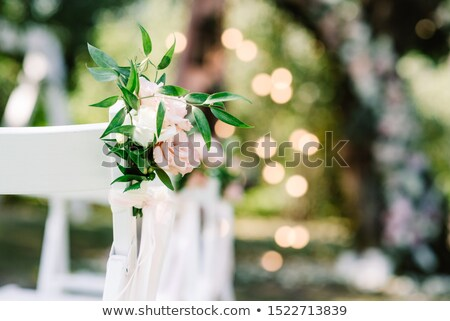 wedding arch and chairs on the grass in the park with little girl Stock photo © ruslanshramko