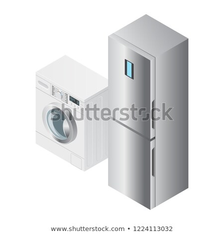 Realistic detailed isometric 3d fridge, refrigerator and washing machine icons Stock photo © MarySan
