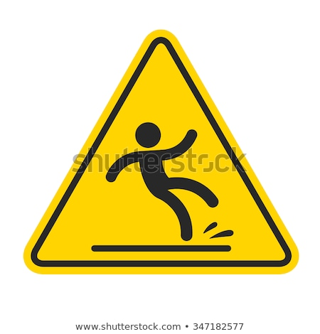 Caution Wet Floor sign, yellow sign with falling man in modern s stock photo © kyryloff