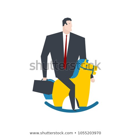 Businessman on toy horse. Boss is rider. Vector illustration Stock photo © MaryValery