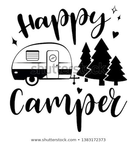Mobile recreation. Happy Camper trailer in sketch silhouette style. Vintage hand drawn camp rv. Hous Stock photo © JeksonGraphics