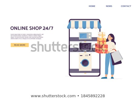 online shopping vector modern beautiful woman standing with shopping bags and buying clothes online stock photo © pikepicture