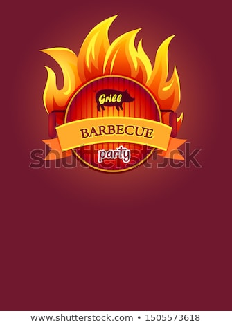Grill Barbeque Party Poster Burning Fire, Grate Stock photo © robuart
