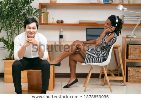 molo · człowiek · czarno · białe · niebo · szczęśliwy - zdjęcia stock © feedough