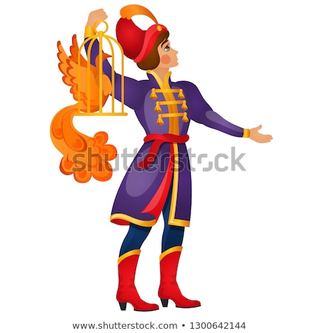 A young fairy tale man carries a fiery bird in a cage isolated on white background. Vector cartoon c Stock photo © Lady-Luck