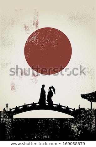 couple people in love on bridge autumn vector stock photo © robuart