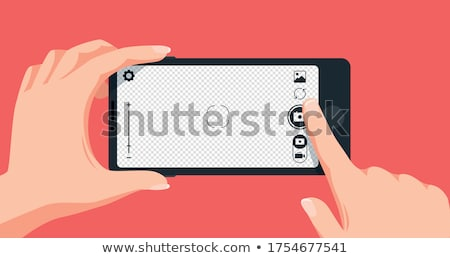 Photographer taking photo with modern digital camera vector illustration. Stock photo © RAStudio