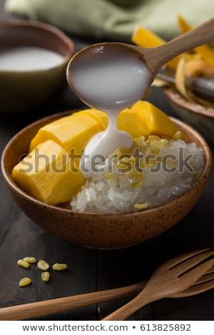 Mango rijst thai dessert gezondheid tropische Stockfoto © eddows_arunothai