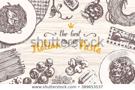 kézzel · rajzolt · fa · asztal · étel · edények · vektor · rajz - stock fotó © bonnie_cocos