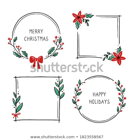 round natural christmas frame vector stock photo © solarseven