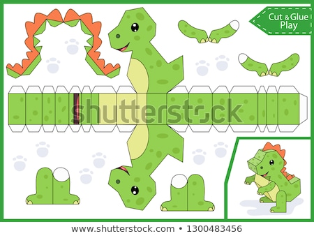 game template with dinosaur characters stock photo © colematt