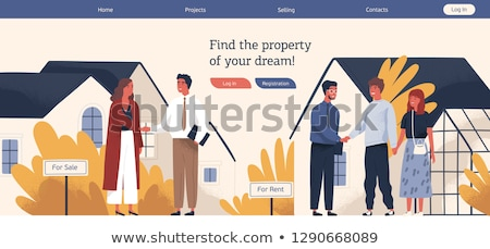 Onroerend deal kleurrijk ontwerp stijl illustratie Stockfoto © Decorwithme