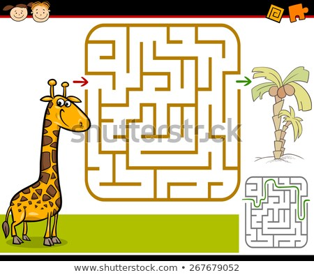 karikatür · zürafa · ağaçlar · sevimli · yeme · yaprakları - stok fotoğraf © izakowski