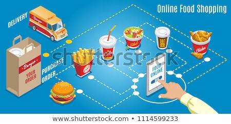 fast · food · schets · kleur · isometrische · iconen · eps - stockfoto © netkov1