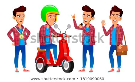 Asian Boy Delivery Service Vector. High School Child. Positive. For Postcard, Cover, Placard Design. Stock photo © pikepicture