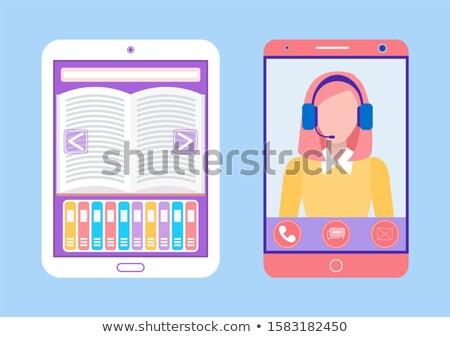 électronique livre smartphone dame tuteur vecteur Photo stock © robuart
