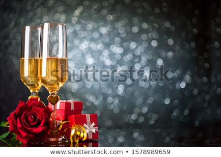 geschenk · champagne · Rood · rose · papier · bruiloft - stockfoto © karandaev