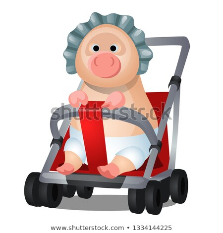 Funny animated pig in the pram isolated on white background. Vector cartoon close-up illustration. Stock photo © Lady-Luck