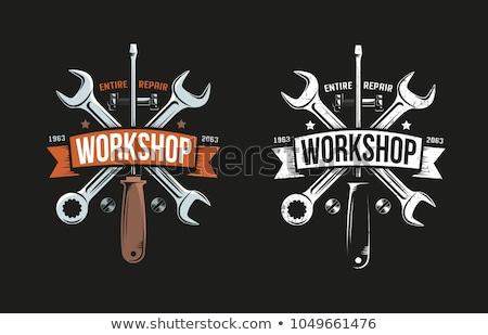 Foto stock: Cor · vintage · ferramentas · compras · emblema · eps