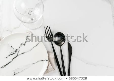 Klasszikus konyha evőeszköz kő asztal felső Stock fotó © Valeriy