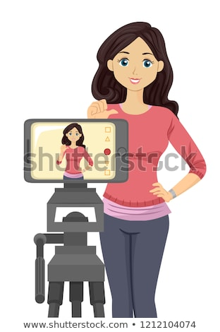 Teen Girl Self Audition Phone Illustration Stock photo © lenm