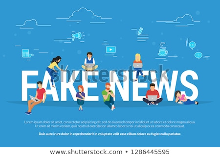 Fake news and and information fabrication concept flat vector illustration of young people reading f Stock photo © makyzz