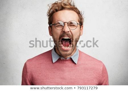 Foto stock: Pânico · empresário · gritando · retro