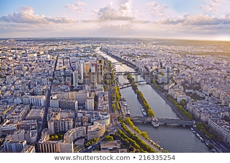 aerial view of paris and seine river stock photo © artjazz