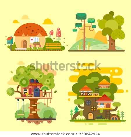 Geïsoleerd boom huis illustratie meisje natuur Stockfoto © colematt
