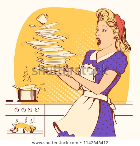 黄色 服 セット 少女 料理 ストックフォト © toyotoyo