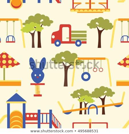 icons set of playground equipments pattern stock photo © netkov1