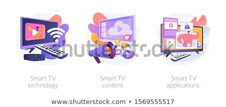 Puce tv contenu personnes famille Photo stock © RAStudio