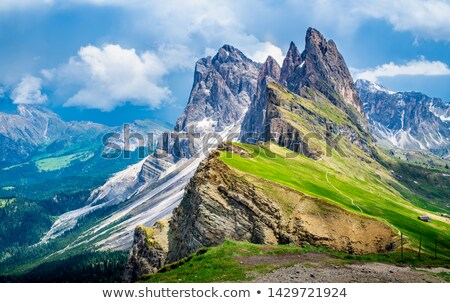 Seceda top of the mountain at daylight Stock photo © frimufilms