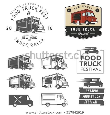 Vintage продовольствие грузовика жетоны дизайна Элементы Сток-фото © netkov1