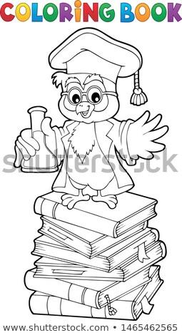 Kifestőkönyv kémia bagoly tanár könyvek művészet Stock fotó © clairev