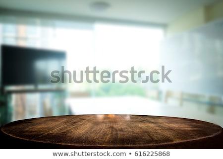 kiválasztott · fókusz · üres · barna · fa · asztal · iroda - stock fotó © freedomz