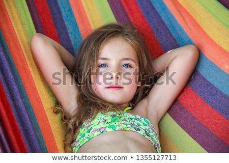 küçük · kız · hamak · kadın · ağaç · manzara · yaz - stok fotoğraf © anna_om