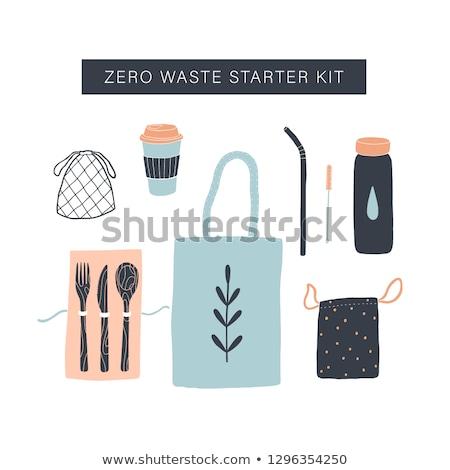 ゼロ 廃棄物 環境にやさしい 漫画 ストックフォト © vectorikart