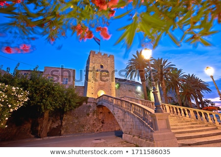 Korcula town gate stone steps and historic architecture evening  Stock photo © xbrchx