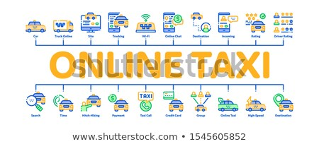 Online Taxi Minimal Infographic Banner Vector Stock photo © pikepicture