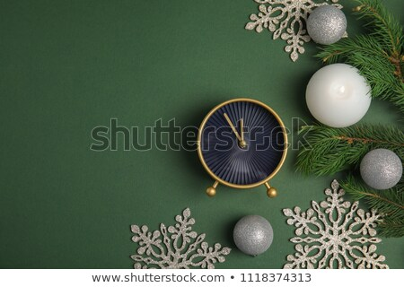 Flat lay Christmas composition with color clocks Stock photo © almaje