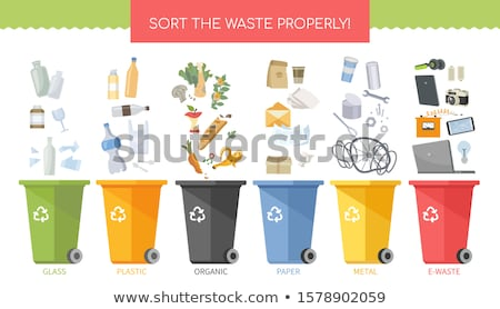 Sort the waste properly - flat design style poster Stock photo © Decorwithme