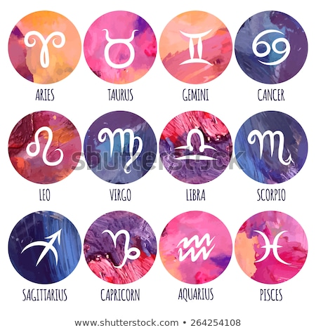 Foto d'archivio: Zodiac Signs - Set Of Twelve Astrological Symbols