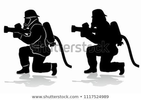 Bombeiro silhueta ícone ilustração vetor Foto stock © pikepicture