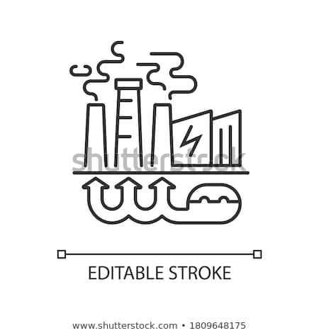 thermal power plant icon vector outline illustration Stock photo © pikepicture