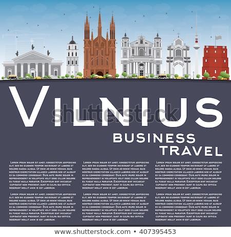 Vilnius linha do horizonte cinza blue sky cópia espaço Foto stock © ShustrikS
