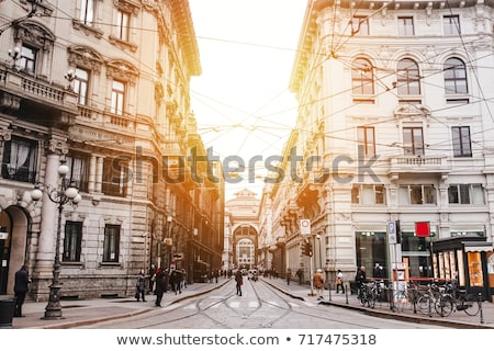 Stockfoto: Historical Buildings On The City Center Streets Of Milan In Lombardy Region In Northern Italy At Nig